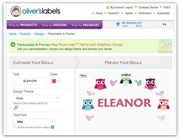 There's Always Room For Room-eez On My Wall! Oliver's Labels #Giveaway