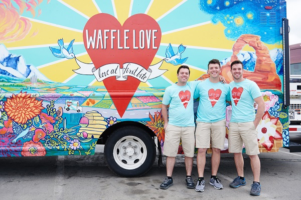 Team Waffle Love's Steven Terry, Adam Terry and Jared Terry in front of their truck, as seen on Food Network's The Great Food Truck Race, Season 6.
