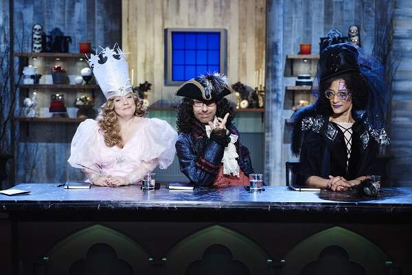 Co-Hosts Sherry Yard, Ron Ben Israel, and Carla Hall, during the Main-Heat round, Trick or Treat, Classic Costume Desserts, as seen on Food Network's Halloween Baking Championship, Season 1.