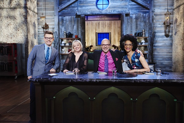 Host Richard Blais, and Co-Hosts Carla Hall, Sherry Yard, and Ron Ben Israel, during the Main-Heat round, Trick or Treat, Classic Costume Desserts, as seen on Food Network's Halloween Baking Championship, Season 1.