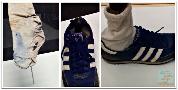 Terry Fox's socks and Adidas running shoes
