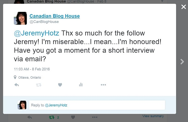 Twitter tweet from Canadian Blog House To Jeremy Hotz