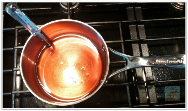 Pot of boiling Canadian Maple Taffy on stove