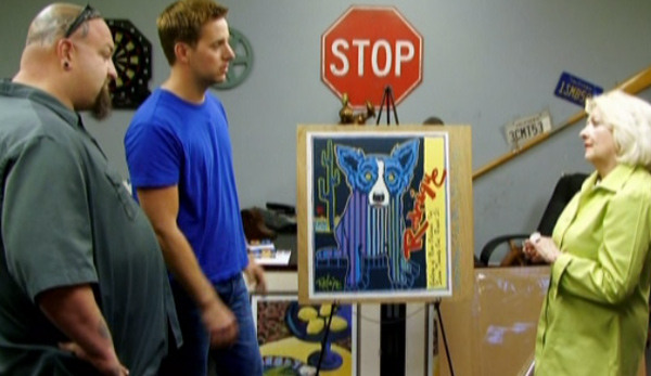 painting of blue dog found by man in storage locker