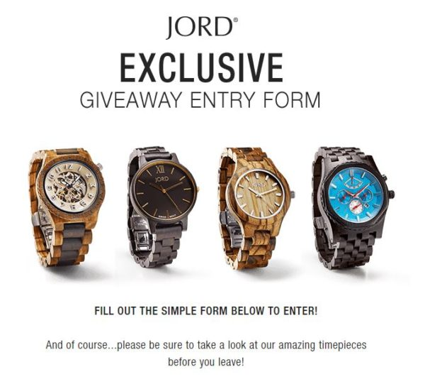 It's Time To Enter For Your Chance To Win With JORD!