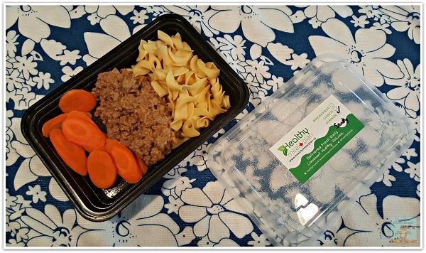 Healthy Meal Plan Hamburger Carrots Noodles