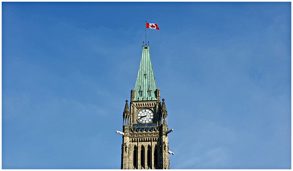 Look up to Peace Tower Parliament Hill