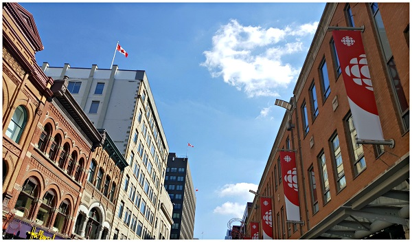 Look up to Sparks Street Ottawa Canada