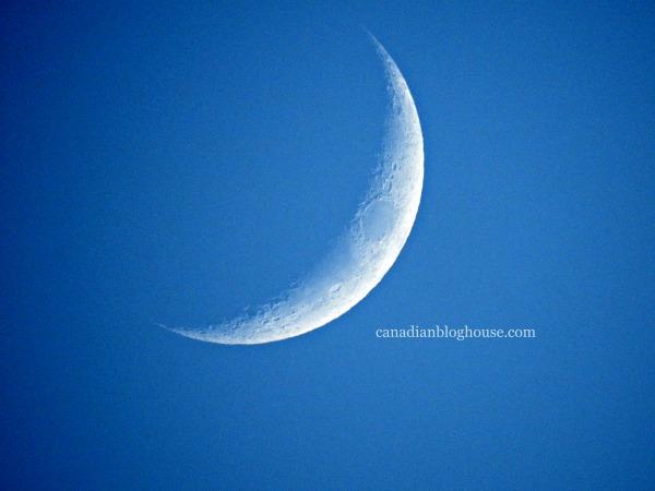 First DSLR Blue Sky Crescent Moon