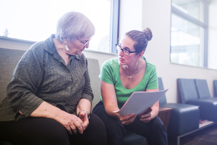Difficult conversation between senior woman and daughter