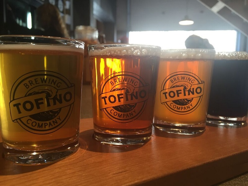 A tasting flight from Tofino Brewing