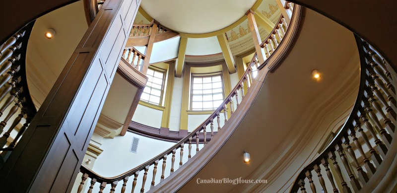Wooden staircase at City Hall in Historic Downtown Kingston