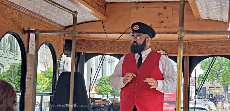 Kingston Trolley Tour Driver in Historic Downtown Kingston