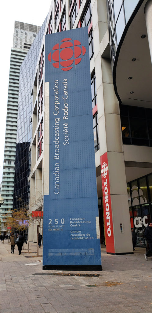 CBC sign outside CBC building in Toronto Canada's Downtown