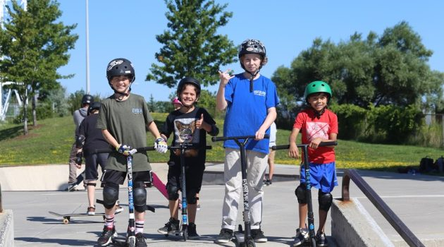 Kids on scooters at Evolve Camps Canadian action sports camp