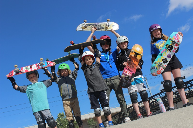 Skateboarding kids at Canadian action sports camp Evolve Camps