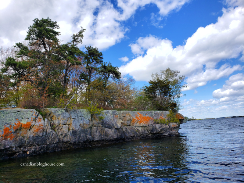 Parks Canada Thousand Islands National Park granite cliff shoreline