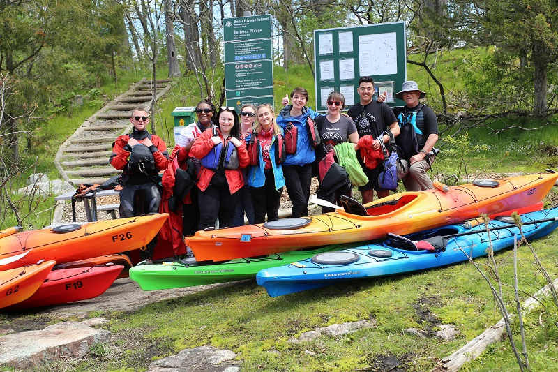 Parks Canada Youth Ambassadors and Canadian writers after kayaking