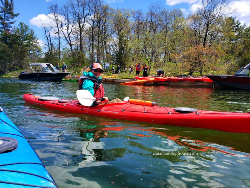 Sophie Grégoire Trudeau in a kayak near Beau Rivage Island