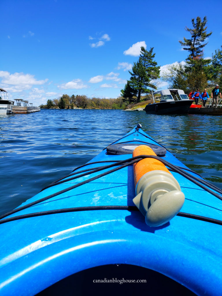View of islands in the St. Lawrence River from a kayak