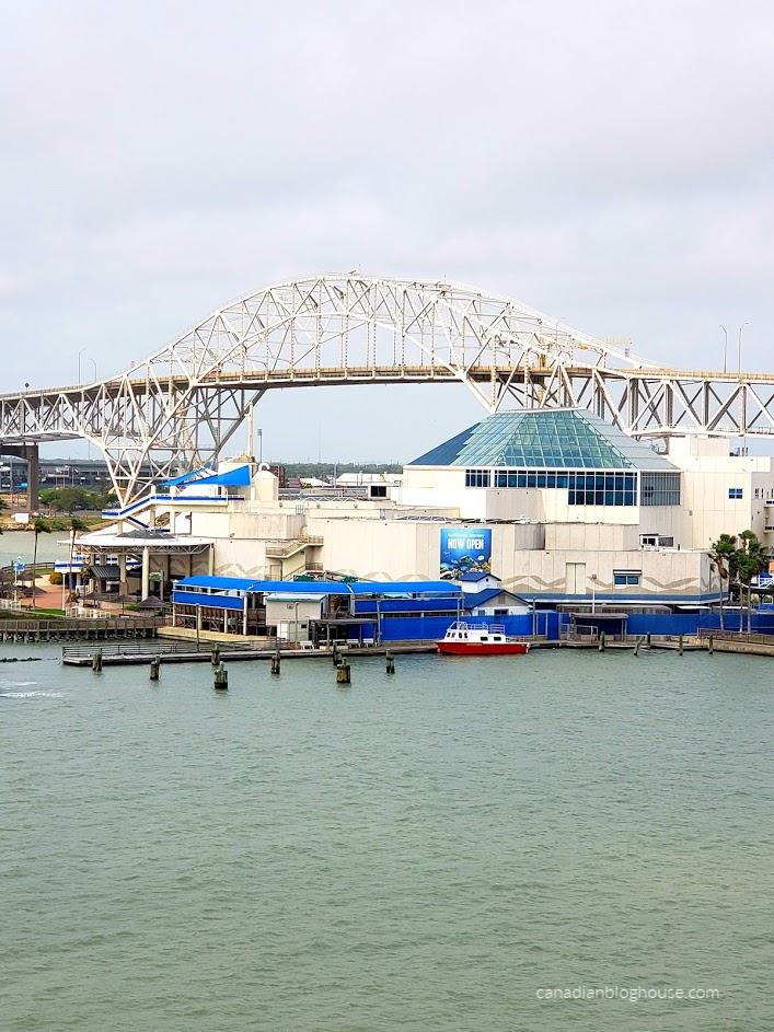 View of Harbor Bridge and Texas State Aquarium