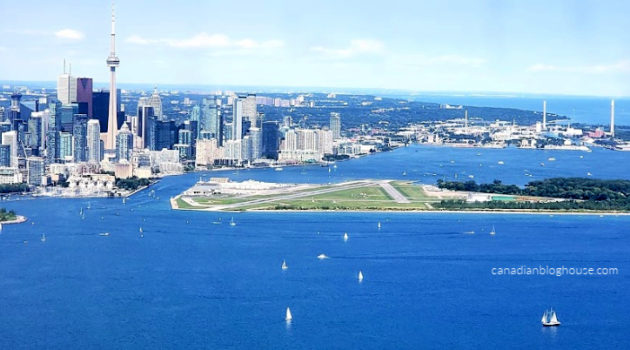 Airplane view of downtown Toronto and harbour