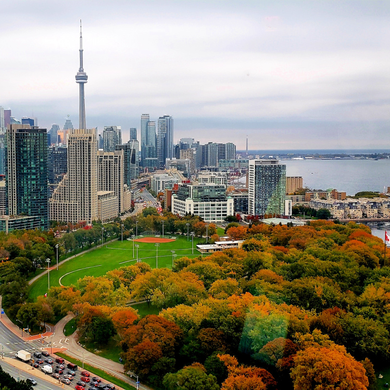 Toronto skyline looking east in Fall